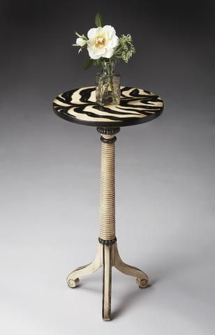 Florence Zebra Stripe Painted Pedestal Table by Butler Specialty Company 1583191