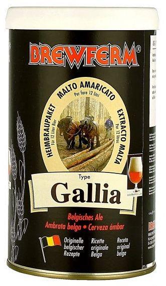 Brewferm Gallia Ale  Bere aramie, cu o amareala nobila si placut racoritoare.  Ingrediente: Extract de malt de grau cu hamei Fulgi de ovaz Ierburi speciale Drojdie Brewferm  Greutate kit - 1.5 kg Pentru 12 litri de bere ABV - aprox. 5.5% Densitate la inceput - 1055 Durata de fermentare - 7 zile Durata conditionare la sticla - 4 saptamani