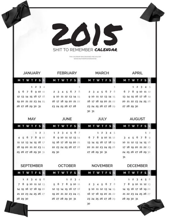 CALENDAR 2015 - ANOTHER POSTER SHOP