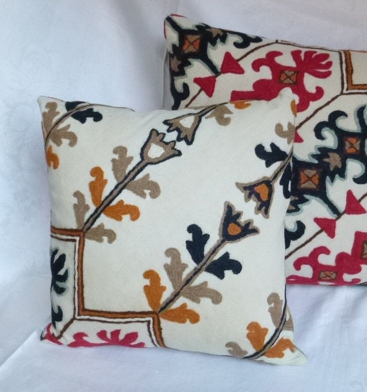 "Crewel Work Pillow 16""x16"" ~ Vintage Fabric ~ Handmade Pillow by HeySardine ~ Invisible Zipper ~ Quality Handwork ~ Studio / Cottage Chic by HeySardine on Etsy"