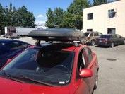 Mazda 6 with a Rhino Rack roof rack and Yakima Skybox Lopro.  #hitchngear