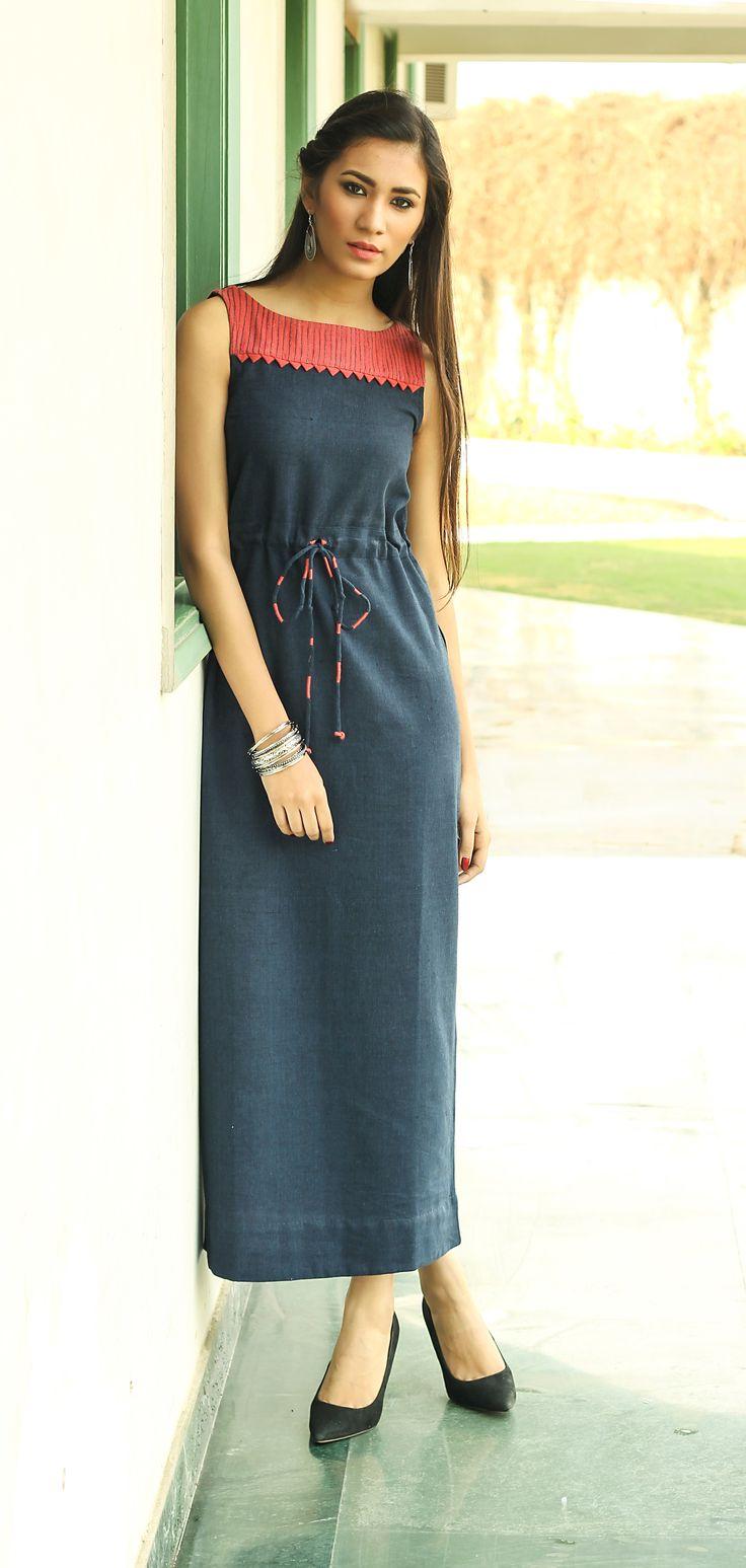 Day Dress Summer Easy Styling Boat Neckline Women Fashion Fabindia Fabindia