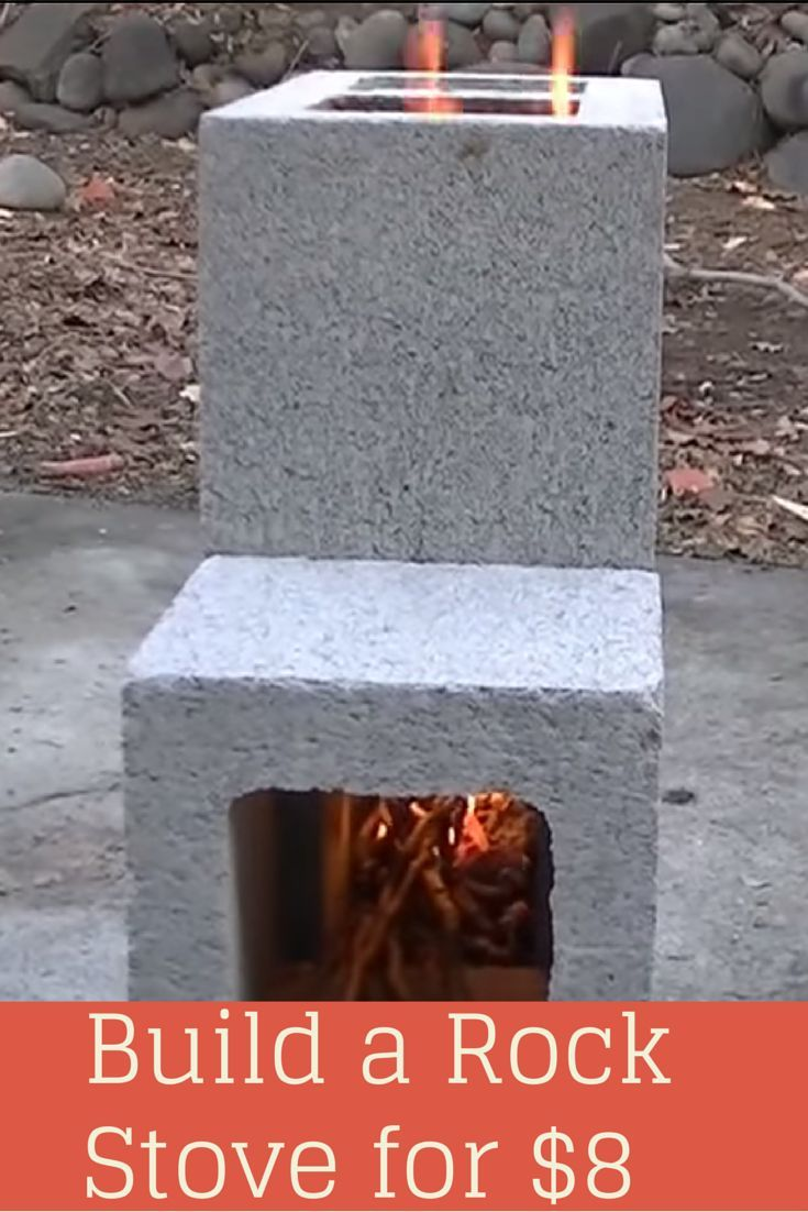 Simple build for an efficient Cinder Block Rocket Stove. These burn hotter and more efficiently than a camp fire and can use just about anything as fuel.