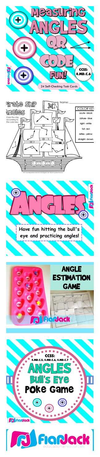 ($) Angles Activity Bundle - This bundle gives you five awesome activities for math stations, free time centers, etc. (You will need a Smart Board and a device with a Scan app for two of these activities.) Students will practice identifying , estimating, and measuring angles. Activities are based on common core standards 4.MD.C.5 and 4.MD.C.6.