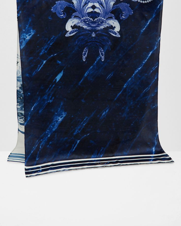 Persian Blue silk scarf - Navy | Scarves | Ted Baker