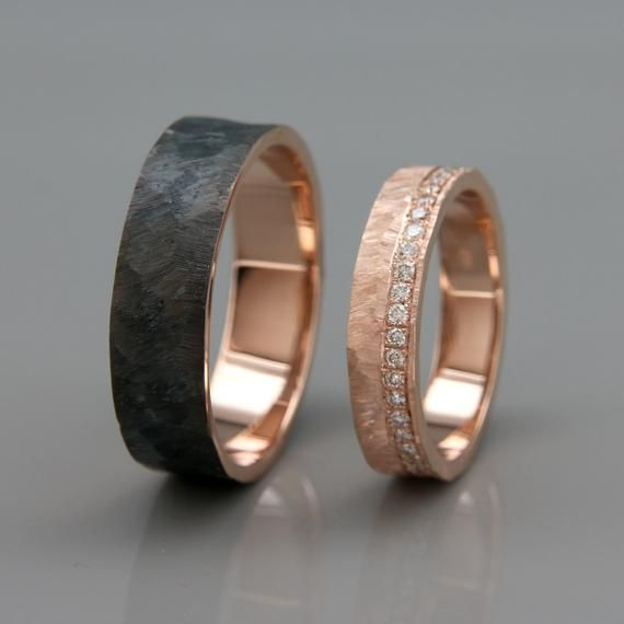 His And Hers Wedding Ring Set 14k Rose Gold Wedding Band Set With Dimoands In Rough Faceted Style Black Rhodium Wedding Bands Set Rose Gold Wedding Ring Sets Gold Wedding