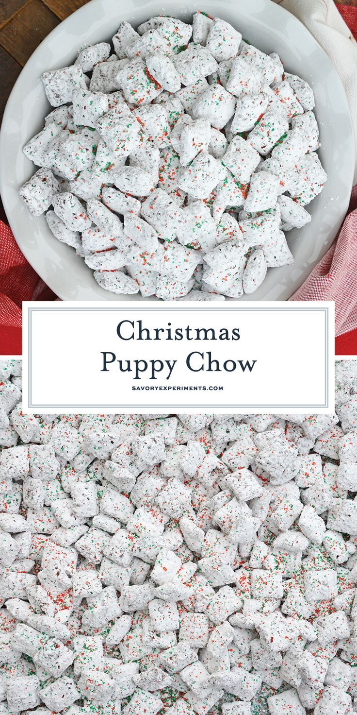 Christmas Puppy Chow transforms a traditional muddy buddy recipe into a festive …