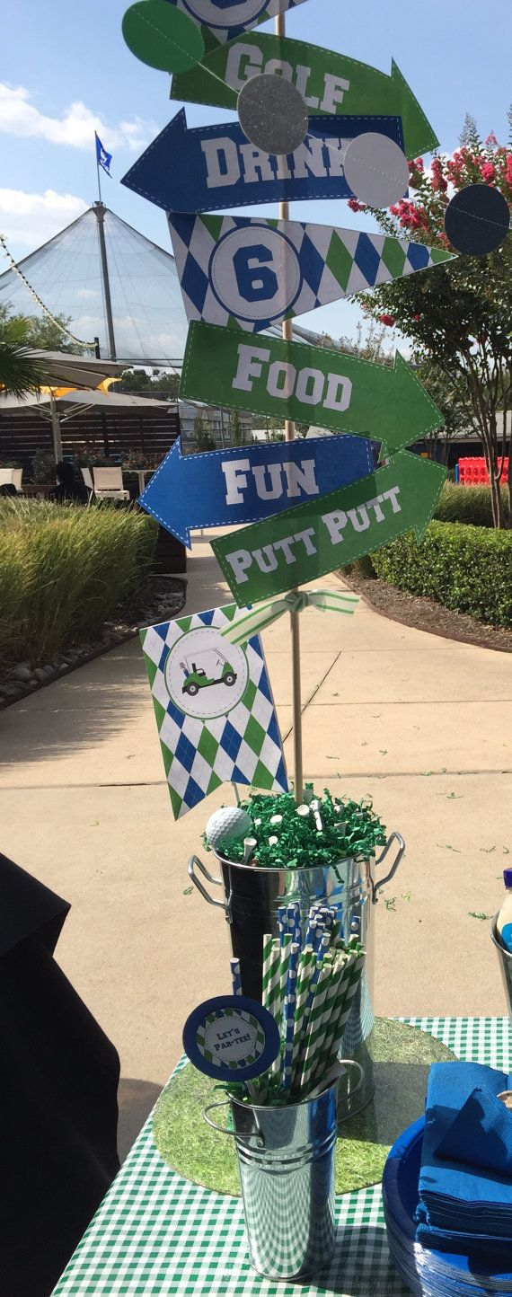 Golf Party Signs to Print at Home! Create your own Adorable Party display with these golf themed directional signs. You print at home and trim! Add to a bucket with balls and tees and Voila you have an amazing Golf Party decoration! The editable file is less than $4, Deal!!!