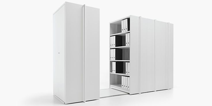Vela | manual mobile shelving system | Fantin Srl | design Salvatore Indriolo