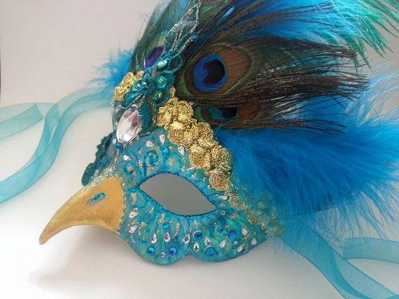 Peacock mask masquerade ball masks venetian beautiful bird unique uk
