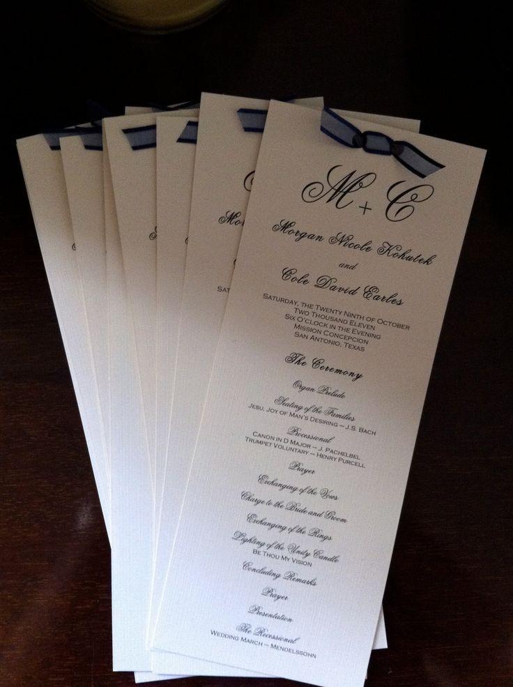 Custom wedding program tea length w ribbon by for 531 program template