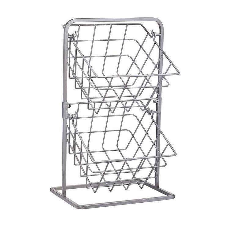 Industrial kitchen two tier wire storage baskets wire