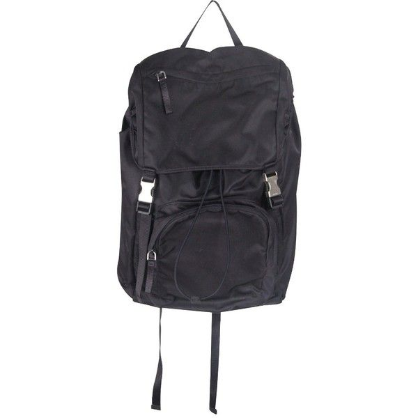 Pre-owned backpack (20.455 CZK) ❤ liked on Polyvore featuring bags, backpacks, blue, prada backpack, prada rucksack, day pack backpack, knapsack bag and triangle bag