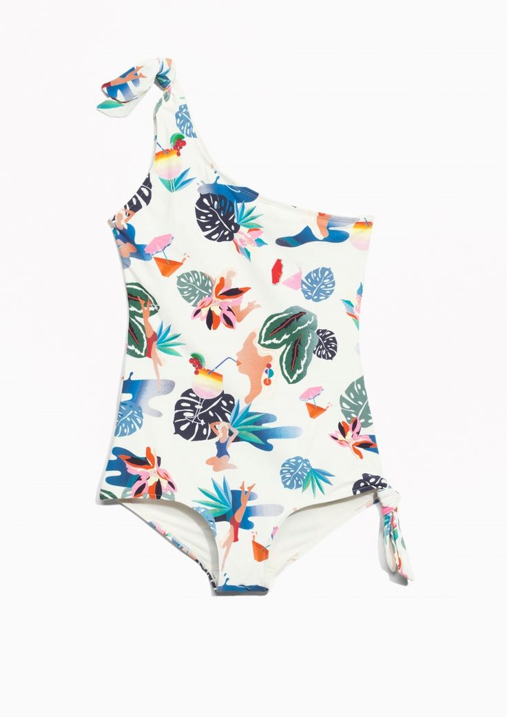 & Other Stories image 1 of One Shoulder Knot Swimsuit in Tropicana Print