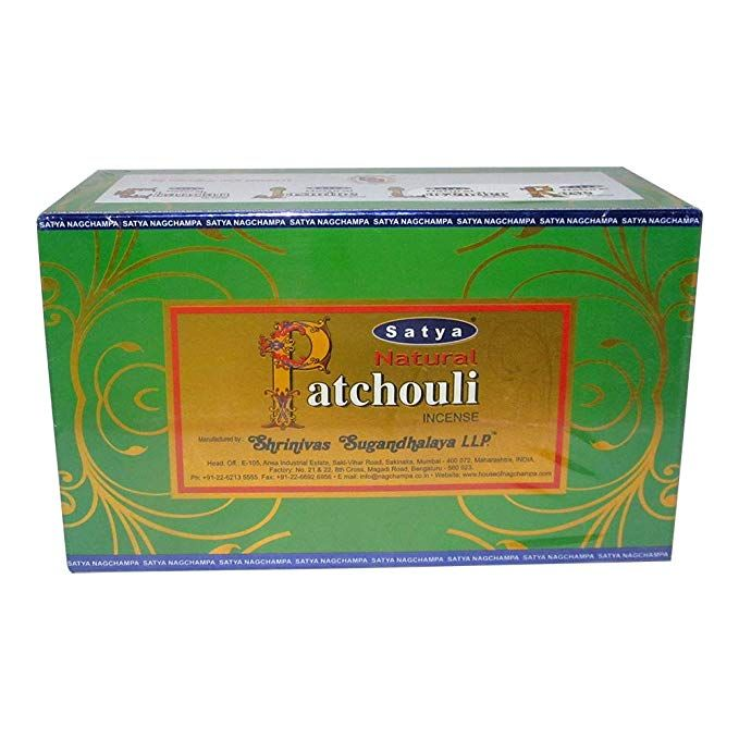 Satya Natural Patchouli Agarbatti Pack Of 12 Incense Sticks Boxes 15gms Each Traditionally Handrolled In India Candles With Natural Scent For Prayers Meditat Incense Sticks Incense
