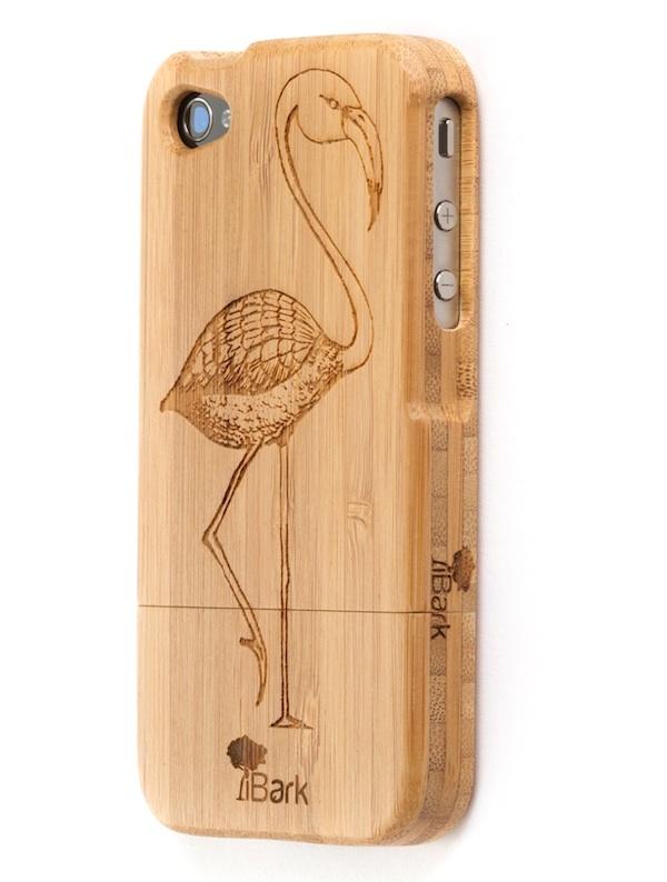 'Flamingo Go Go' Engraved Bamboo iPhone Case
