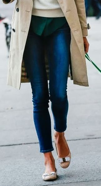 classic trench, ankle length denim, ferragamos. (so I'd probably do Target flats, but super cute look)