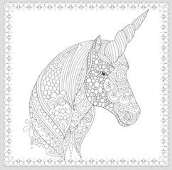 Printable Coloring Page Zentangle Unicorn Coloring Book Etsy Unicorn Coloring Pages Horse Coloring Pages Unicorn Pictures To Color