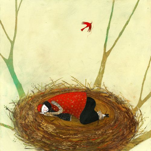 woman in giant nest, Pamela Zagarenski - don't you ever wish you could curl up in a cozy nest and rest?: