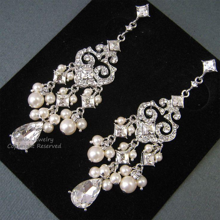 Chandelier Bridal Earrings, E0022, Ivory Pearl Bridal Earrings, Wedding Earrings, Pearls and Crystals Earrings, Vintage Style Earrings. $62.00, via Etsy.