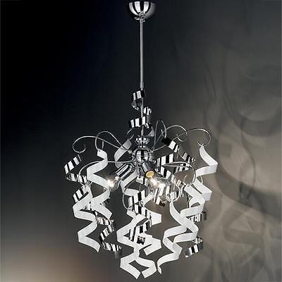 Lampadario sospensione design moderno riccioli pendenti acciaio cromato bianco