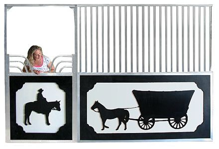 Story Panel Horse Stall Front - Add a custom touch to your barn with these story panel stall fronts. Choose from a wide selection of provided images or get in touch with us to discuss adding your own custom logo or art.