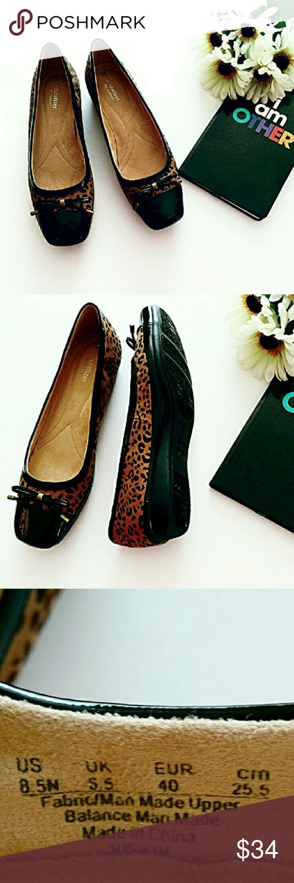 "NWOT Naturalizer Animal Print Ballet Flats🌷Narrow Trimmed in black patent leather w/ matching bow w/brass tone hardware. Comfort insole, black traction out sole. Flat front ballet cap toe. Approx 1/2"" heel. Worn to try on. In new condition. All manmade materials. *Ask questions B4 U Buy* * Note: traditionally the difference between narrow, medium and wide widths shoes is 1/4 in. in each designation* Measurement provided upon request. Naturalizer Shoes Flats & Loafers"