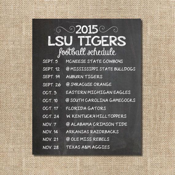 Louisiana State University Football Chalkboard  - 2015 LSU Football Schedule by SBWDesignStudio