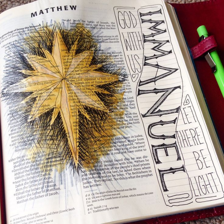 Immanuel, Emmanuel. Matthew 1. Draw Close Blog. Bible art, Bible journaling, journal, study, devotion. Star of Bethlehem.
