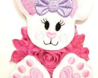 Fluffy Bunny Headband felt bunny applique with a by MissBellaLeigh