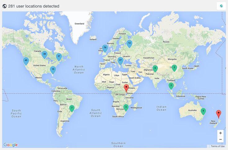 WordPress users geolocation map