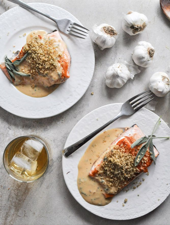 Pan-Crisped Salmon with Light Dijon Cream and Garlic Butter Breadcrumbs | How Sweet It Is