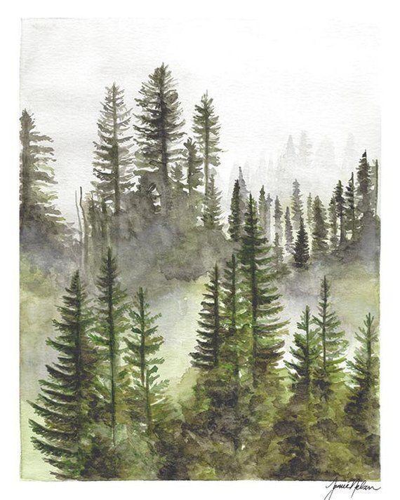 Immergruner Baum Aquarell Wald Aquarell Nebligen Wald