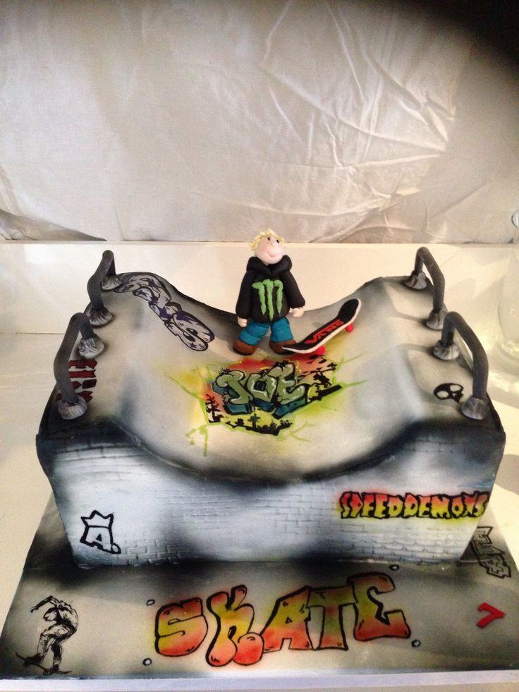 Skate park cake#hand painted #airbrushed graffiti has so much #fun with this xx www.sugarsosweet.co.uk