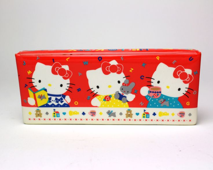 Larger, harder to find magnetic closure Hello Kitty pencil box.  - - DETAILS - - - Large enough to up to 14 pens & pencils. Has slots for each one