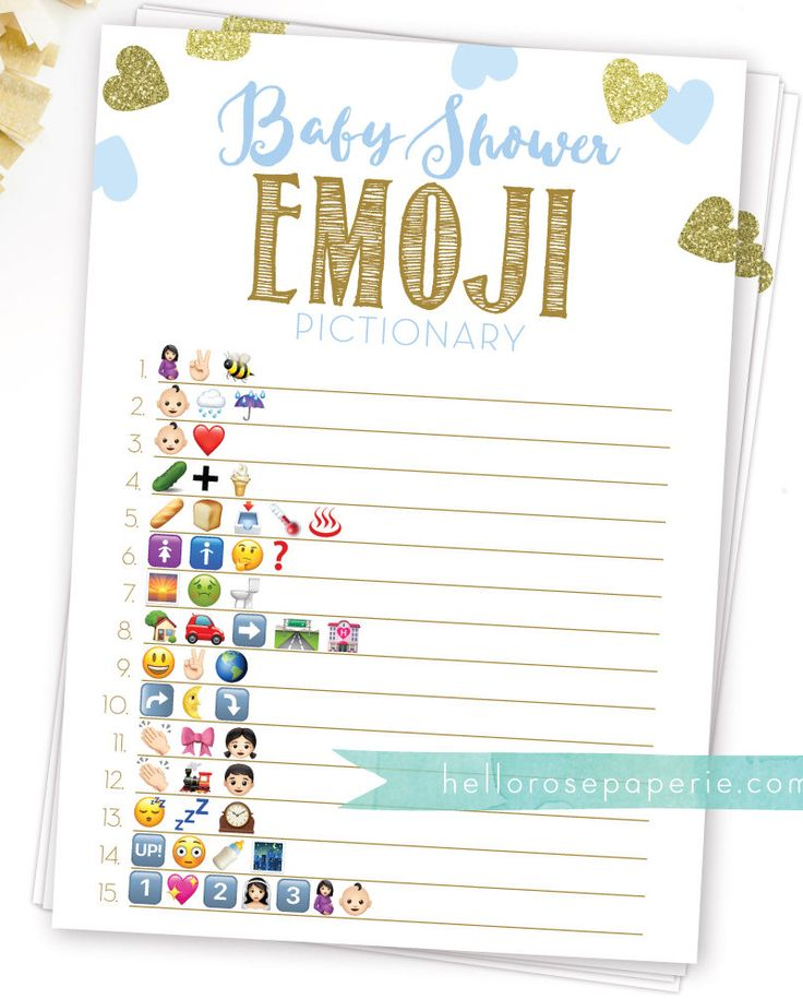 Baby Shower Emoji Pictionary Game with answers . Blue and ...