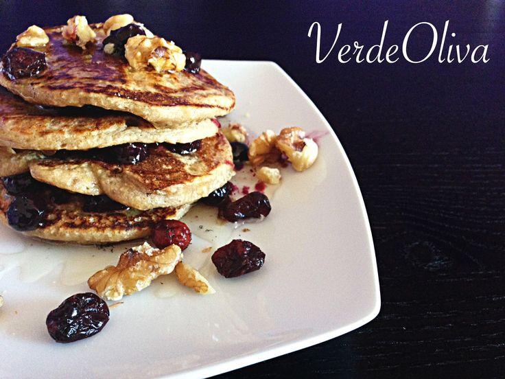 #Pancakes de #avena rellenos de arándanos #vegan