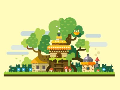 Fantastic landscape: stone house with thatched roof in forest glade. Vector flat illustration and background