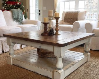 Elegant Large Square Rustic Baluster Wide Plank Coffee Table | Wide Plank,  Farmhouse Clocks And Plank
