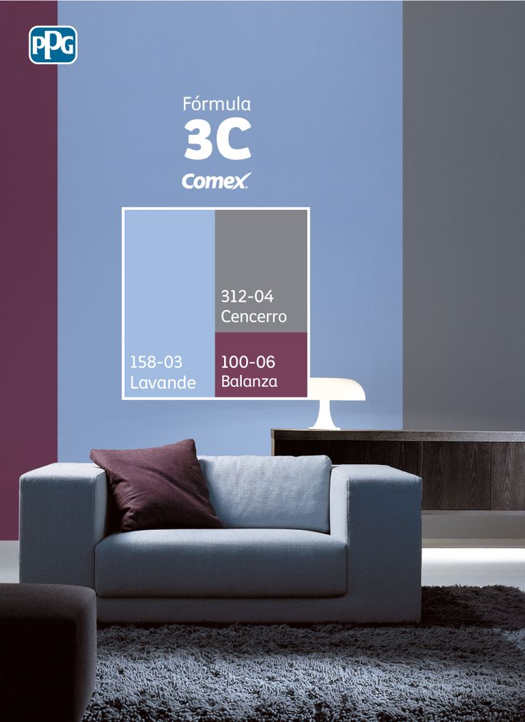 """Utiliza 60% de """"Lavande"""", 30% de """"Cencerro"""" y 10% de """"Balanza"""" y relájate en un ambiente balanceado y original. #Combina colores y transforma tu espacio. #Fórmula3C"""