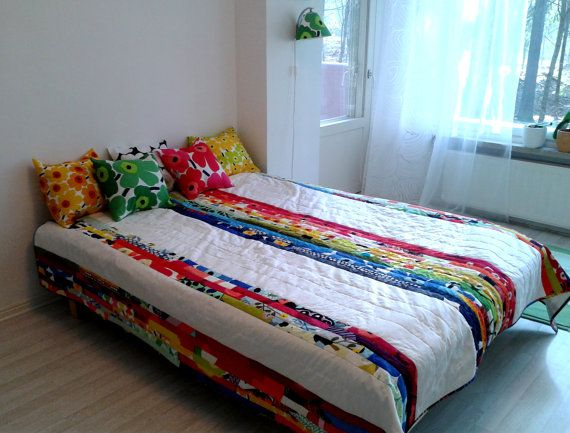 Modern quilt made from Marimekko fabric, patchwork geometric rainbow blanket, Scandinavian bed cover, double size coverlet