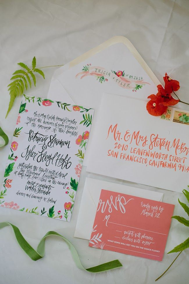 Tropical watercolor wedding suite // design and calligraphy by Shannon Kirsten