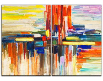 Items op Etsy die op Kunst landschap schilderij abstract Oceaan Sunrise kunst originele kleur Sky Vivid strand kunst grote Acryl schilderij op canvas door Tim lam 48x24x1.3 lijken