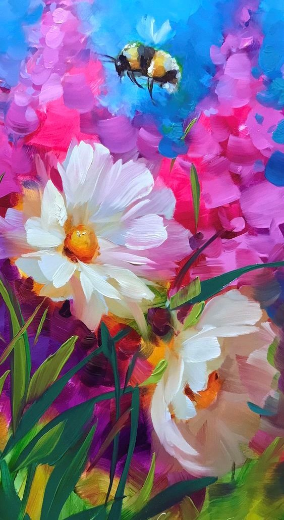 Beautiful painting with colorful daisies, other flowers and a bumble bee