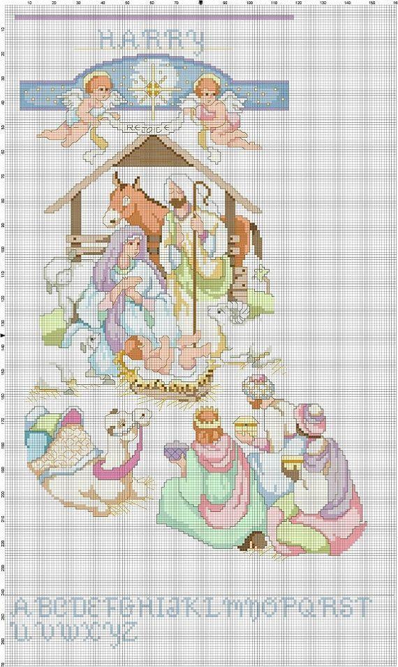 Nativity Christmas Stocking Counted Cross Stitch: