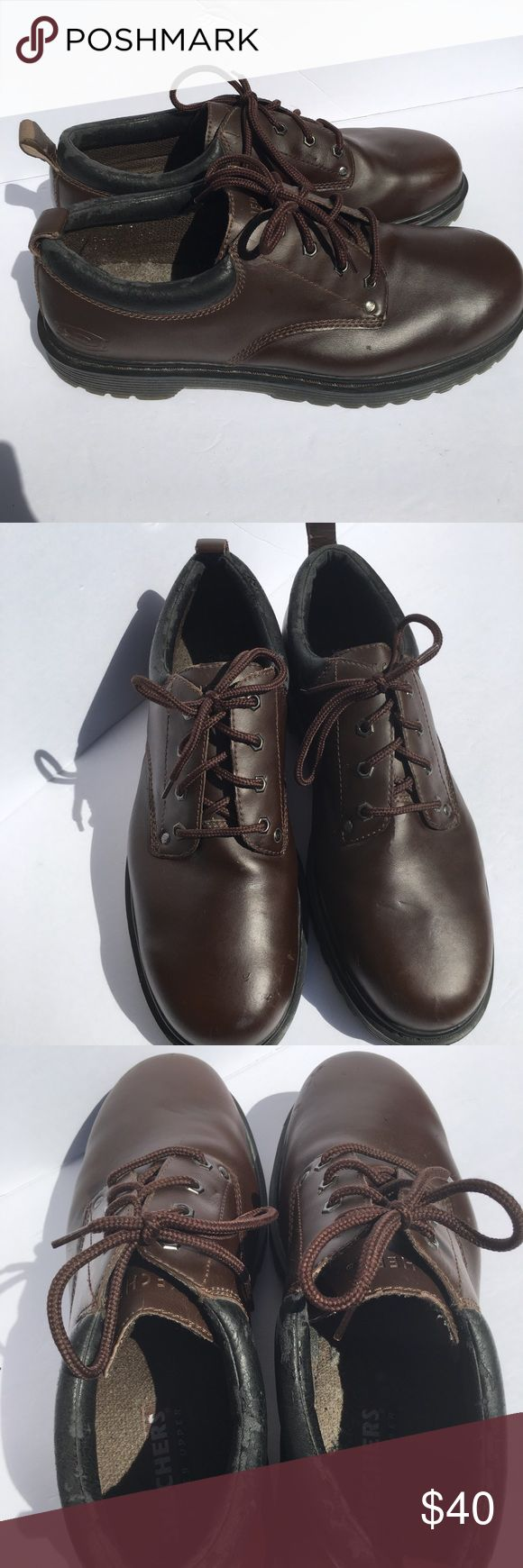 Skechers Mens Shoes Size 14 Brown Oxford Lace Up This listing is for a pair of men's brown lace up Skechers oxfords in a size 14. Very minor scuff marks on the toe box and some of the black lining around upper part of shoe has worn away. Please see photos. Skechers Shoes Oxfords & Derbys