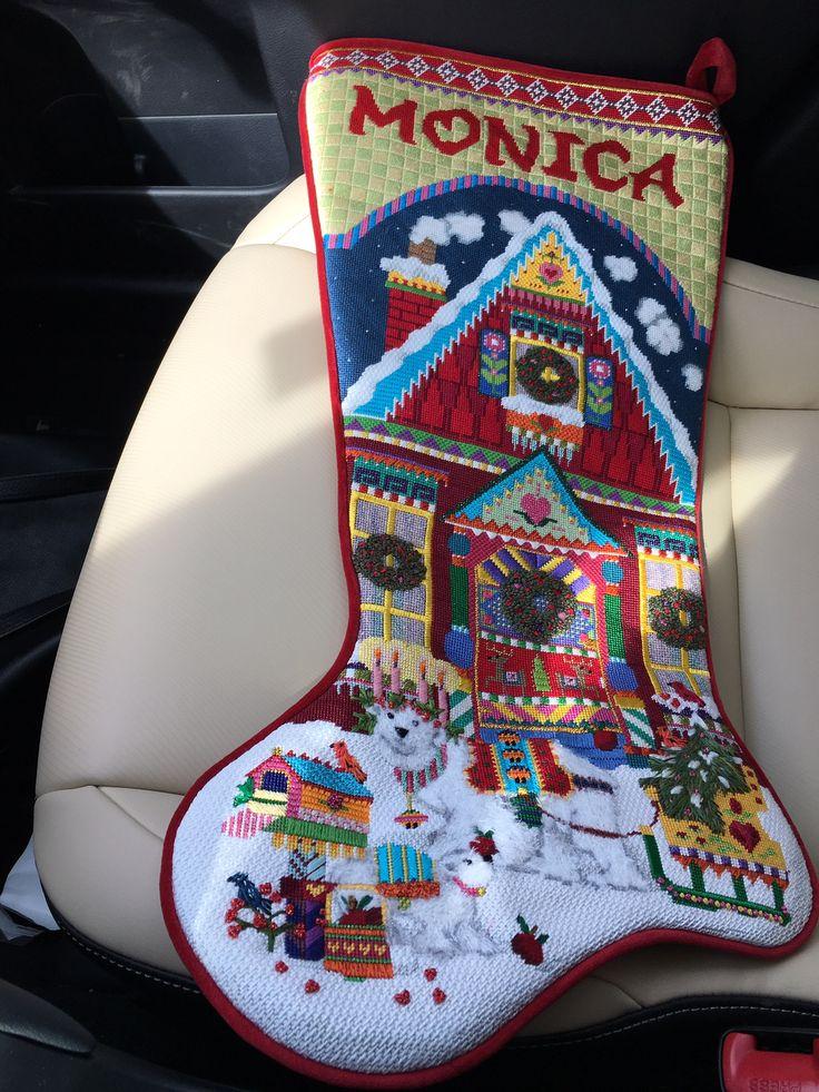 Melissa Shirley needlepoint design Christmas stocking