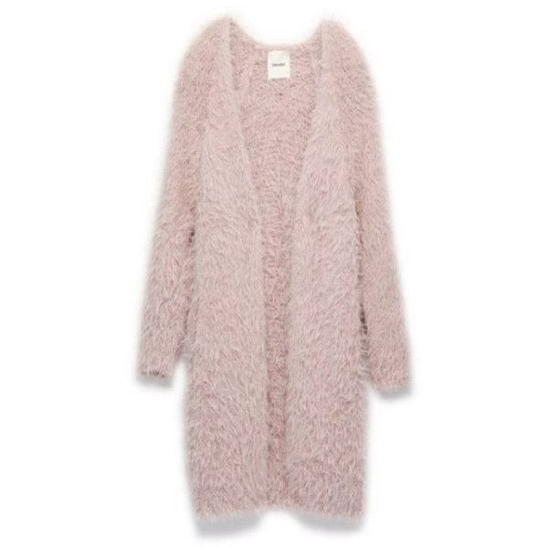 Light Pink Fuzzy Open Cardigan ($50) ❤ liked on Polyvore featuring tops, cardigans and light pink