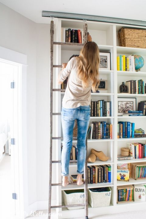 Billy Bookcase Hack with Library Ladder | The Lilypad Cottage