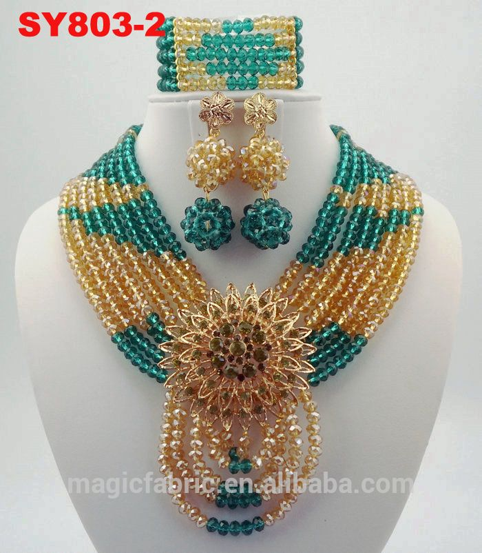 Colorful Drop shape African Beads Jewelry Sets Nigerian Wedding ...